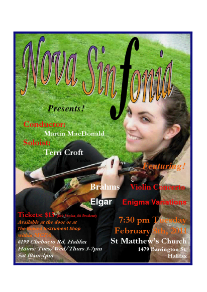 Poster from Terri's performance of the Brahms Concerto with Nova Sinfonia