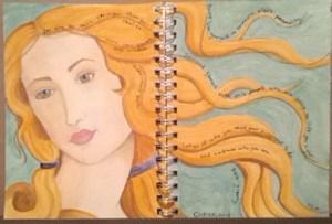Venus sketch (Sketches of women in pink and orange.)