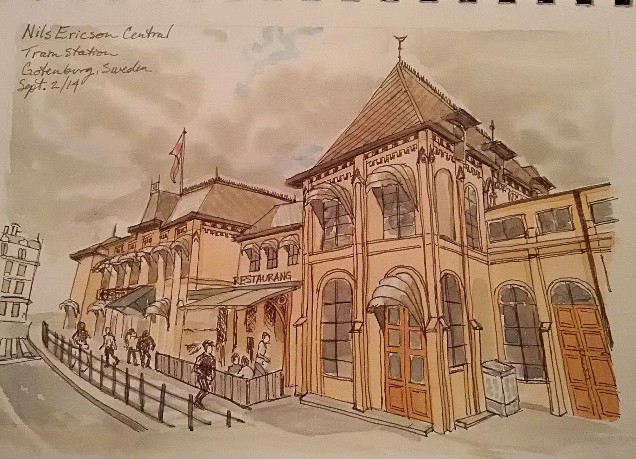 Nils Ericson Central Train Station. Watercolor and sepia, Virtual Paintout