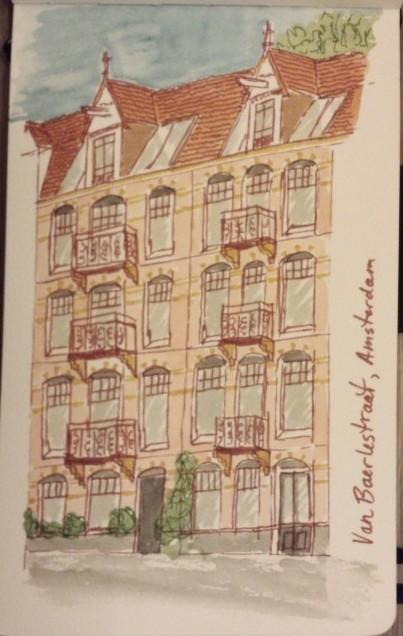 Sketch on Van Baerstraat, Amsterdam. Watercolour  ink, Moleskine journal.