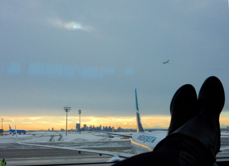 Waiting out a layover in the Calgary Airport