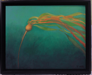 The Whisper, oil painting of Bull Kelp (Feeling A Bit Blue Green Aqua)