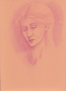 Sketch of a woman based of work of Edward Burne-Jones. Pink & orange pencil on orange paper.