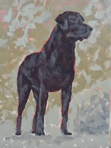 Dog portrait in acrylic on canvas