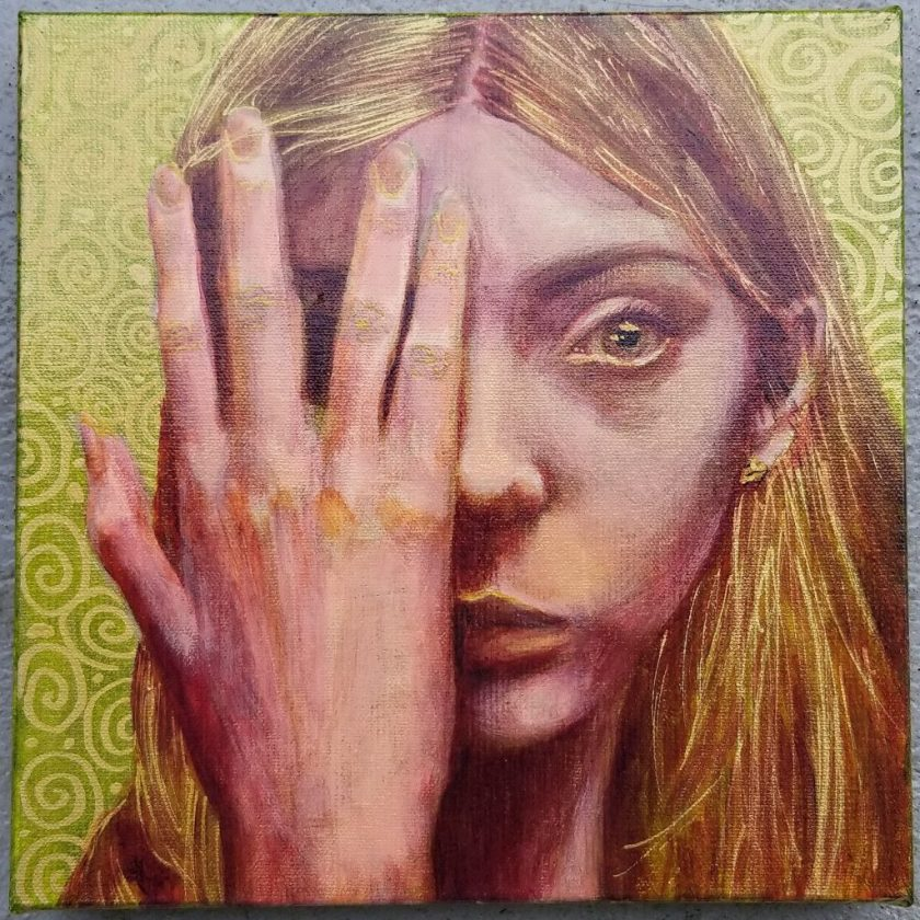 "Girl in Gold, 10"" square"