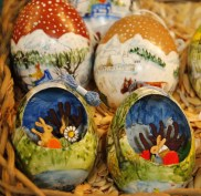 3-D bunny scene in hollowed-out egg