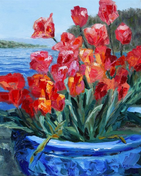 Tulips Springwater Deck Mayne Island  20 x 16 inch oil on canvas  by Terrill Welch 3013_04_25 166