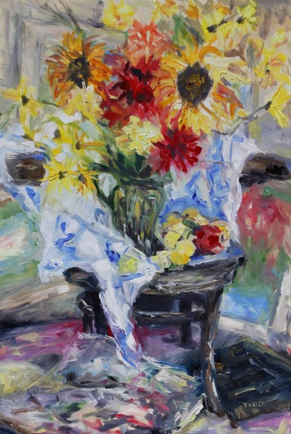 August Still life with Cezanne and Matisse 24 x 36 inch oil on canvas by Terrill Welch 2013_08_23 034