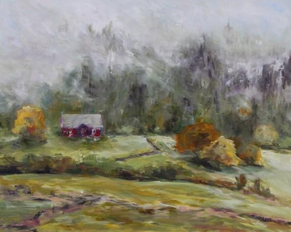 Farm In Fog 16 x 20 inch oil on gessobord by Terrill Welch 2013_11_05 157