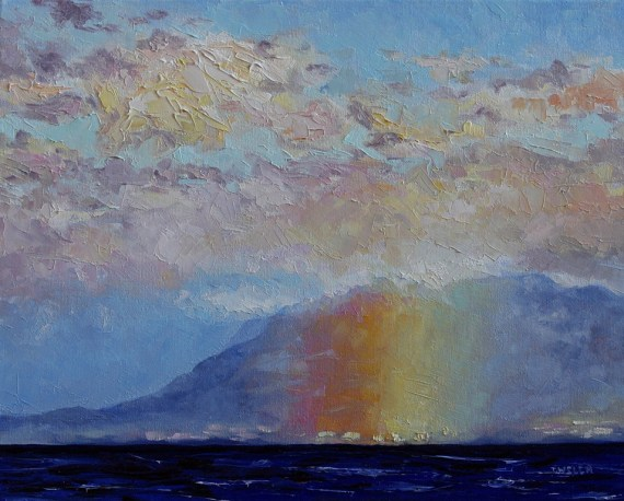 Rainbow Mountain Pink Sky 16 x 20 inch oil on canvas by Terrill Welch 2013_12_03 085