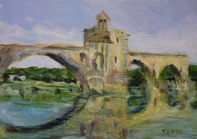 June morning by Pont D' Avignon 25 x 35 cm acrylic painting sketch by Terrill Welch 2014_06_011 046