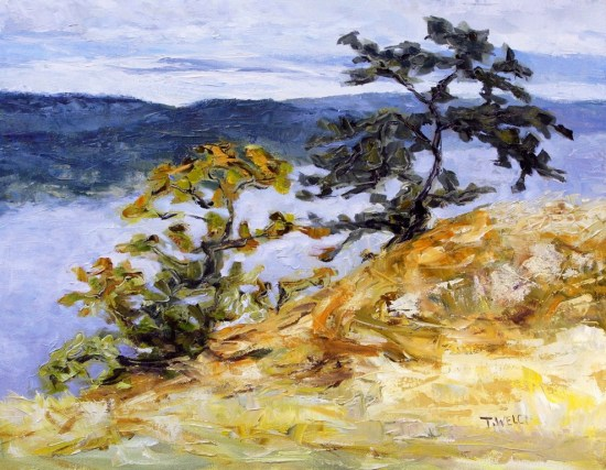 Garry Oaks on Brown Ridge 14 x 18 inch oil on canvas by Terrill Welch 2014_09_15 025