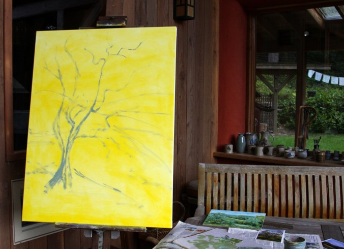 The Olive Tree in progress 1 40 by 30 inch oil on canvas by Terrill Welch 2014_10_02 044