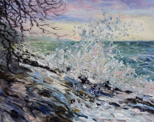 WEST COAST EARLY EVENING WINTER SEA 16 x 20 inch by Terrill Welch Canadian Contemporary Artist