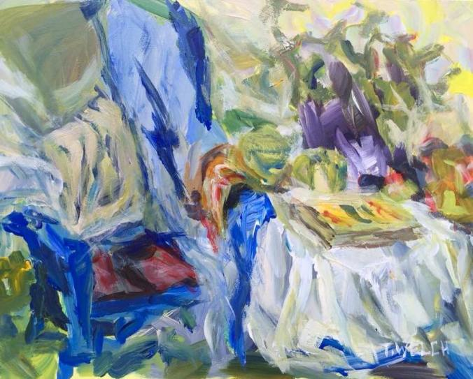 Spring Tea - a quick study 8 x 10 inch acrylic plein air sketch by Terrill Welch