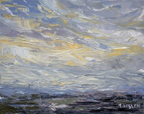 Winter morning by the sea 8 x 10 inch oil on canvas by Terrill Welch Canadian Contemporary Artist