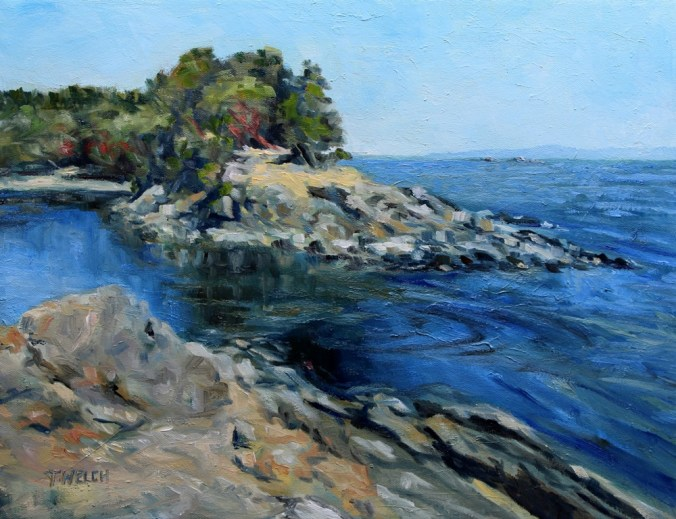 Canoe Pass at Winter Cove 14 x 18 inch walnut oil on canvas by Canadian artist Terrill Welch 2015_07_17 091