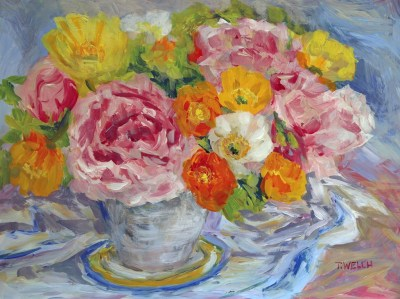 Peonies and Poppies still life 12 x 16 inch acrylic painting sketch on gessobord by Terrill Welch 2015_06_07 477