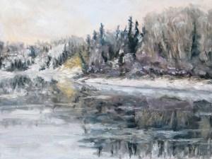 Winter Freeze Up Stuart River BC walnut oil on canvas 18 x 24