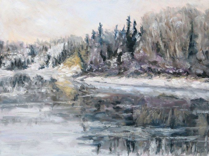 Winter Freeze Up Stuart River BC walnut oil on canvas 18 x 24