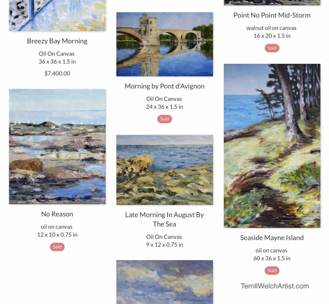 Image of several landscape paintings selected by Terrill Welch as her favourites from the beginning of the 2010-2019 decade. Many are marked as sold