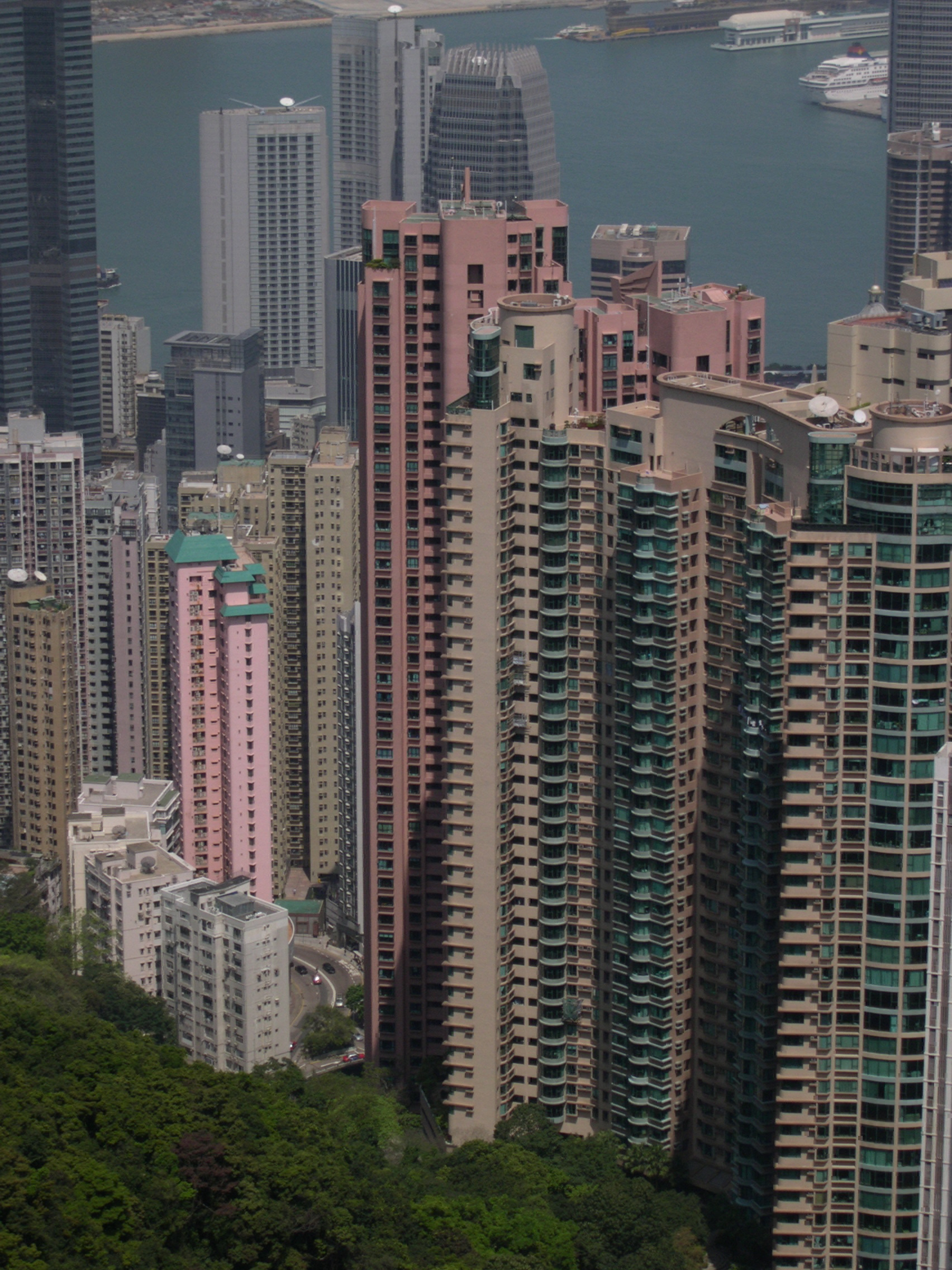 pink high rise buildings in Hong Kong