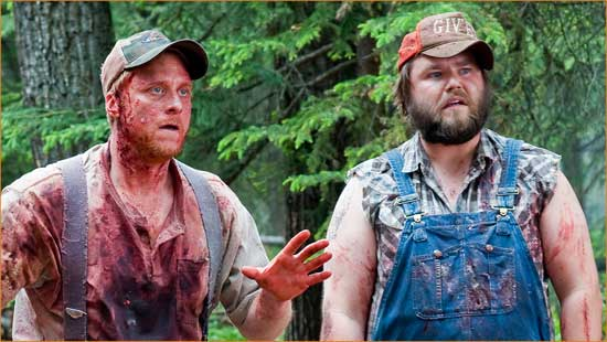 "Tucker (Alan Tudyk) and Dale (Tyler Labine) try to make sense of things in ""Tucker & Dale vs Evil""."