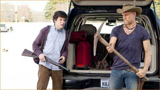 "Columbus (Jesse Eisenberg) and Tallahassee (Woody Harrelson) nut up in the horror comedy, ""Zombieland""."