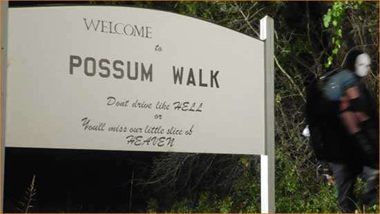 "Death wears a non-descript white mask in ""Possum Walk""."