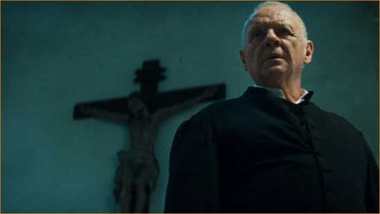 """Father Trevant (Anthony Hopkins) prepares to lay the spiritual beatdown in """"The Rite""""."""