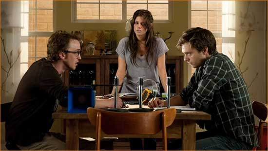 "Patrick (Tome Felton), Kelly (Ashley Greene) and Ben (Sebastian Stan) get their fear on in ""The Apparition""."