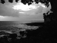 Taken from the resort where we stayed in Kona, this sunset was amazing in color, but for some reason, B&W seemed like the right way to go.
