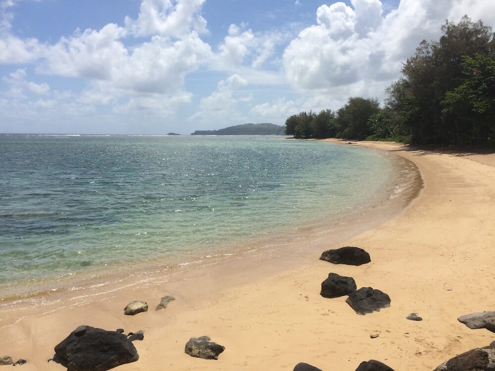 Along Anini Beach Road there are many spots where beautiful beaches are empty.