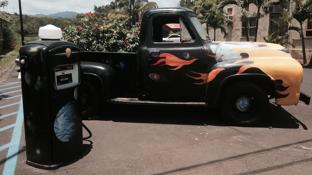 This restored old truck was a prominent part of walking around the little town of Hanapēpē