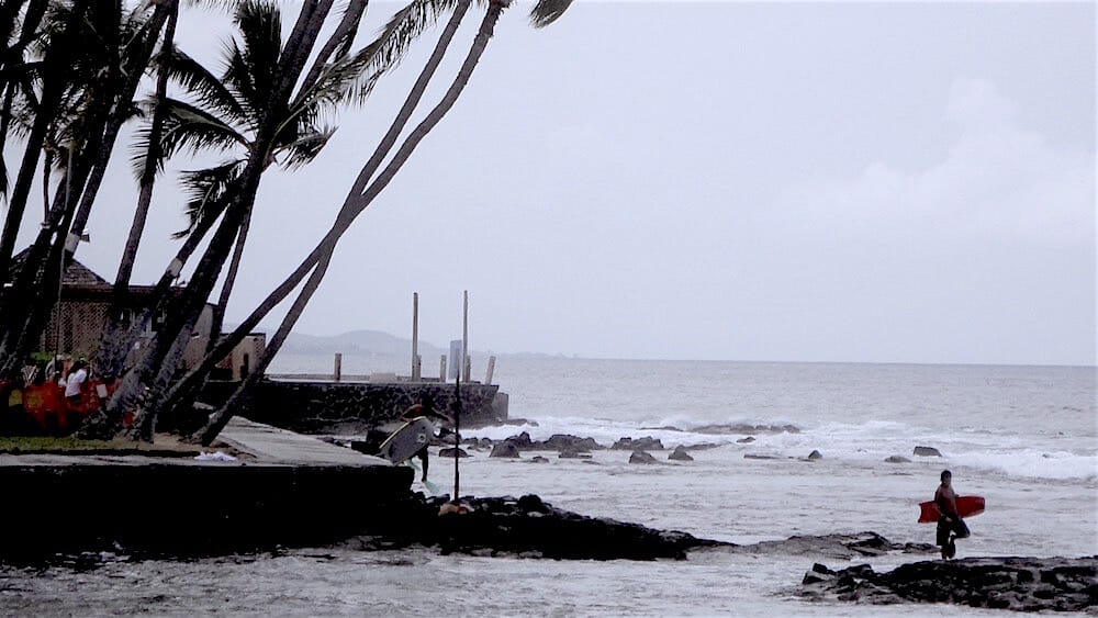 """Lots of """"vog"""" in the air in Kona this time — vog is from the volcano spewing gas"""