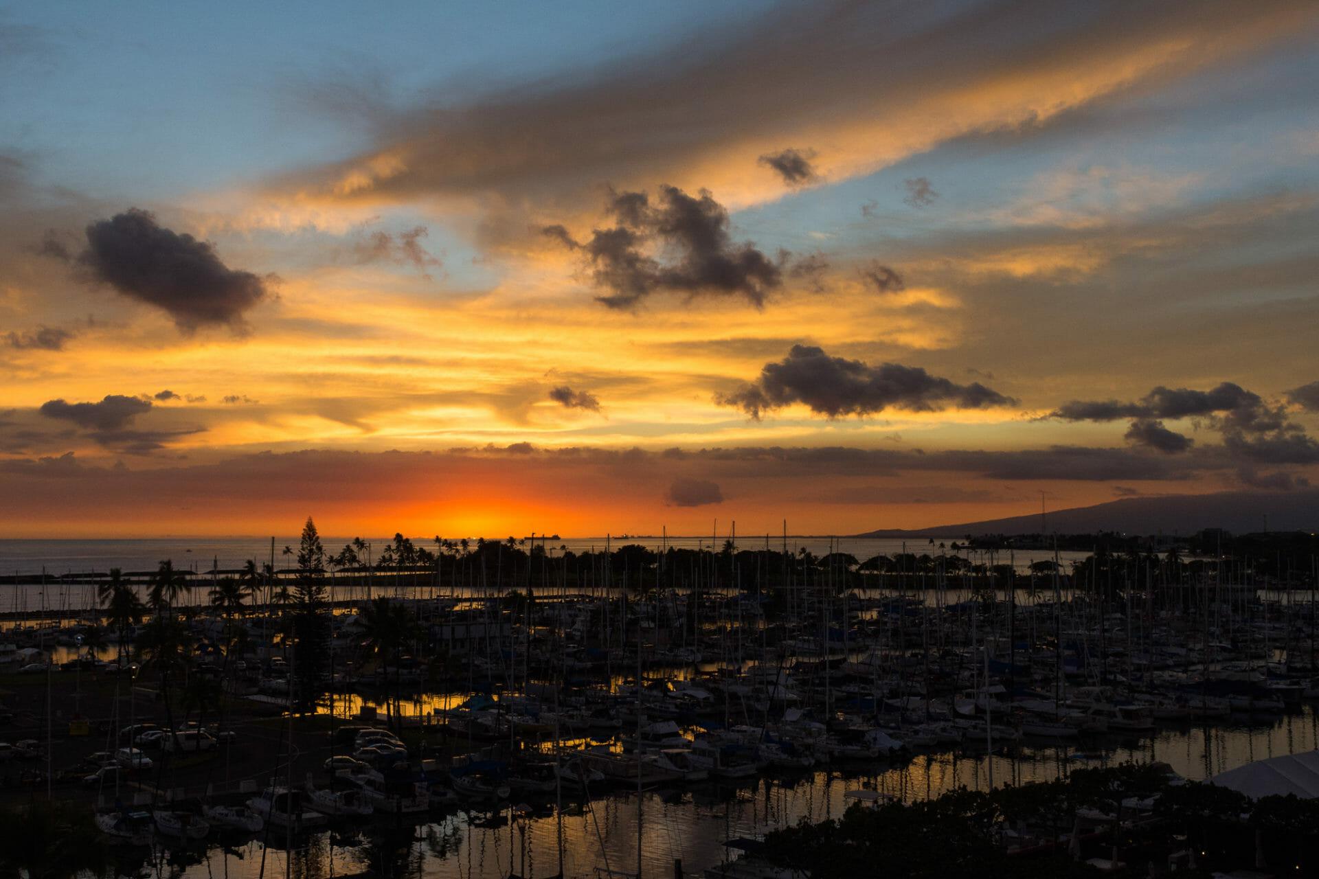 Almost last light at Ala Wai Harbor