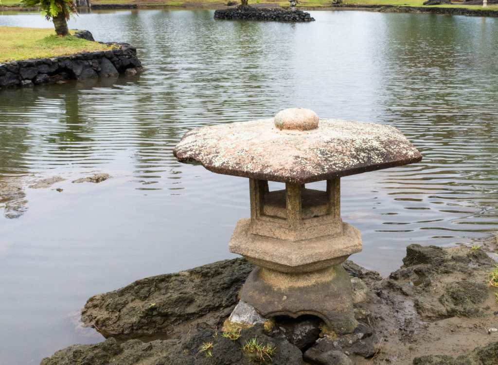 At Liliuokalani Gardens on a gray day