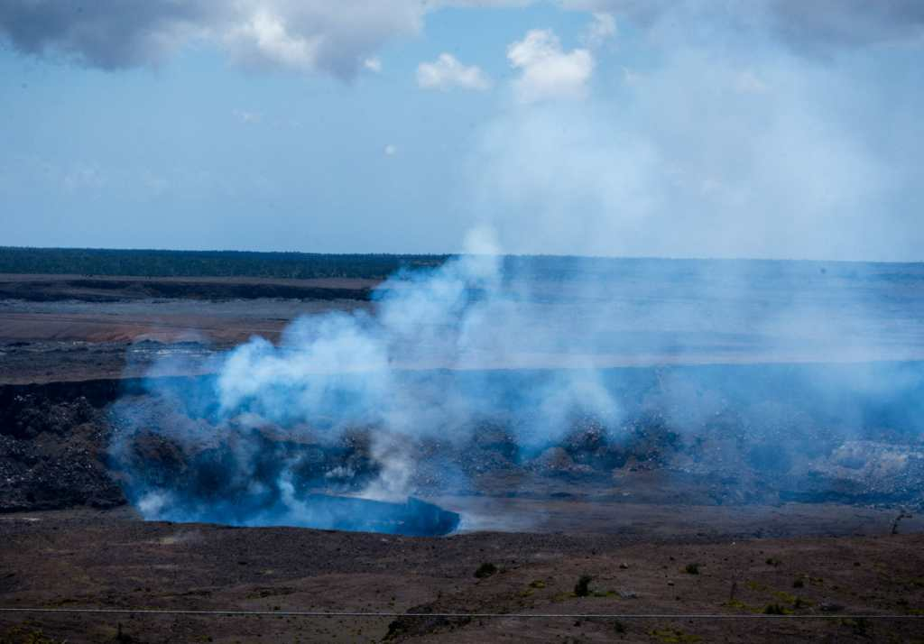 Smoke from Kilauea steam vent and lava flow