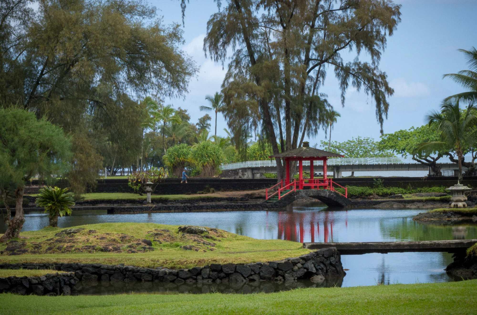red gazebo at Liliuokalani Gardens