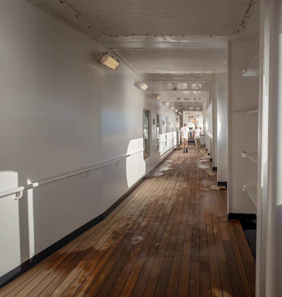 Promenade deck nearly deserted