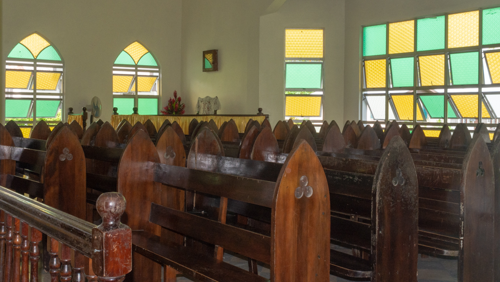 Inside of church - beautiful wood pews