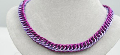 Chainmaille Necklace - Asgard Lavender and Fuchsia