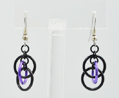 Chainmaille Earrings - Utopia Purple and Black