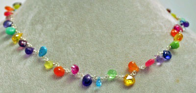 "16"" Linked Rainbow Stones Necklace by Tashka"