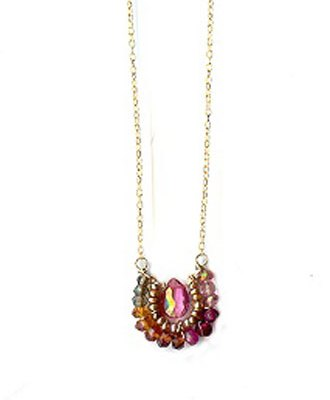 Pink Topaz Red Mixed Stone Necklace