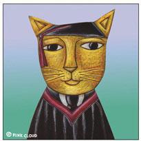 Cat Grad Business Card Holder