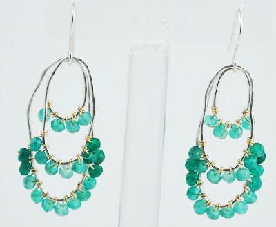 Green Onyx Oval Earrings