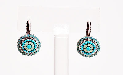 Turquoise and Chalcedony Circle Earrings