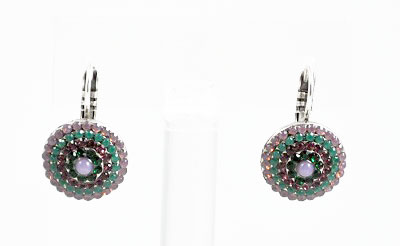 Circles of Purples and Green Crystals Earring
