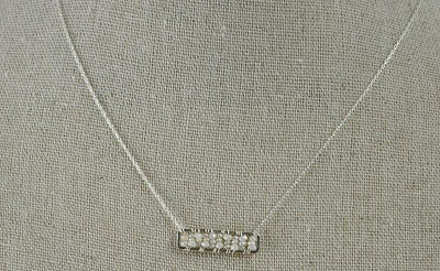 White Sapphire and Pearl Bar Necklace